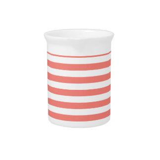 Dünne Streifen-- weißes und Korallen-Rosa Getränke Pitcher