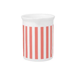 Dünne Streifen-- weißes und Korallen-Rosa Krug
