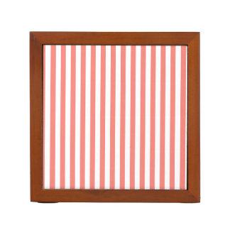 Dünne Streifen-- weißes und Korallen-Rosa Stifthalter