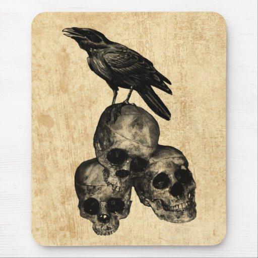 Dünne Überbleibsel-Krähen-Schädel-gotische Kunst M Mousepads