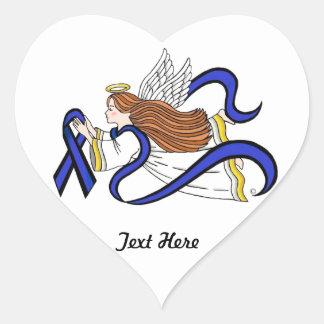Dünner Blue Line-Engel Herz-Aufkleber