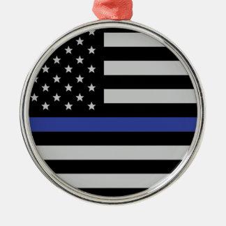 Dünnes Blue Line - amerikanische Flagge Silbernes Ornament