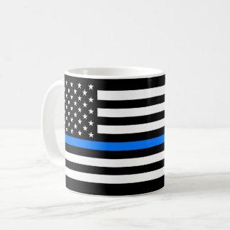 """""""DÜNNES BLUE LINE auf FLAGGE """" Kaffeetasse"""
