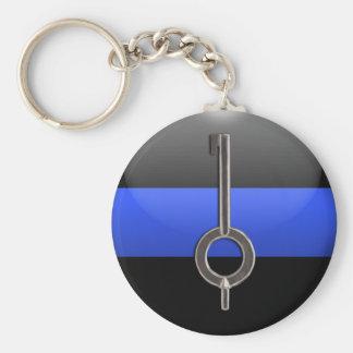 Dünnes Blue Line fesseln Schlüssel mit Schlüsselanhänger