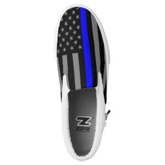 Dünnes Blue Line-Flagge-Grafikdesign an Slip-On Sneaker