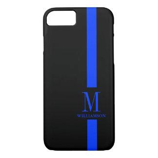 Dünnes Blue Line-Gewohnheits-Monogramm iPhone 8/7 Hülle