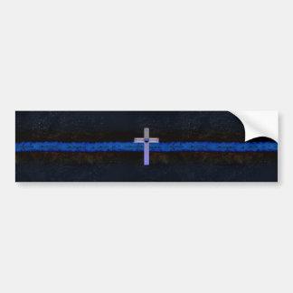 Dünnes Blue Line kreuzen Autoaufkleber