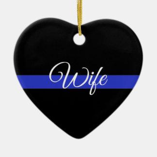 Dünnes Blue Line: Polizei-Ehefrau Keramik Herz-Ornament