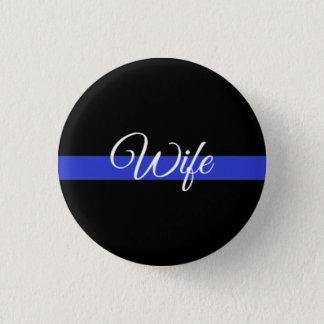 Dünnes Blue Line: Polizei-Ehefrau Runder Button 3,2 Cm
