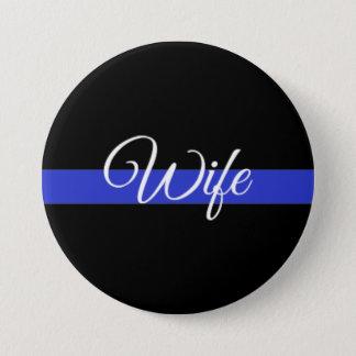 Dünnes Blue Line: Polizei-Ehefrau Runder Button 7,6 Cm