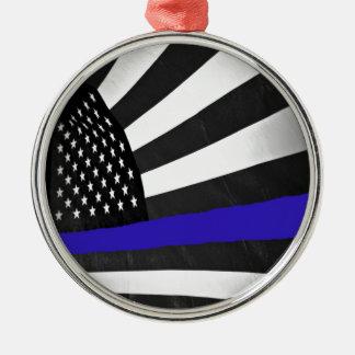 Dünnes Blue Line Silbernes Ornament