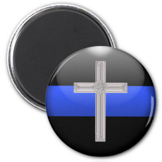 Dünnes Blue Line und Runder Magnet 5,1 Cm