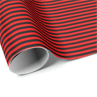 Dünnes rotes und schwarzes Streifen-Packpapier Geschenkpapier