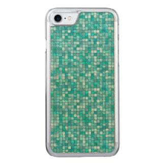 Duo-Ton aquamarines geometrisches Fliesen-Muster Carved iPhone 8/7 Hülle