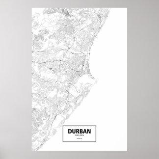 Durban, Südafrika (Schwarzes auf Weiß) Poster