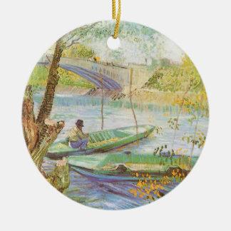 Durch Vincent van Gogh im Frühjahr fischen Keramik Ornament