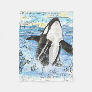 Durchbrechen der Schwertwal-alten Karte Fleecedecke