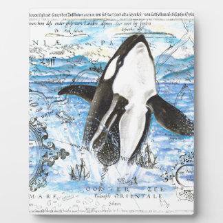 Durchbrechen der Schwertwal-alten Karte Fotoplatte