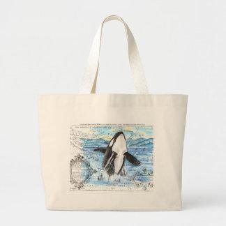 Durchbrechen der Schwertwal-alten Karte Jumbo Stoffbeutel