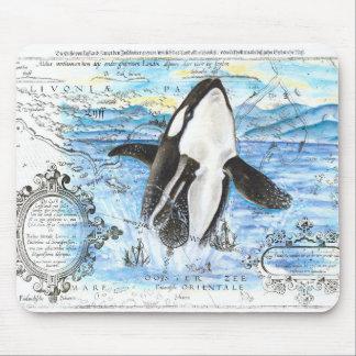 Durchbrechen der Schwertwal-alten Karte Mousepad