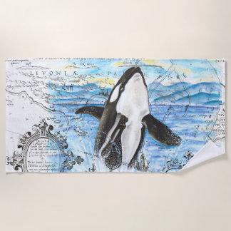 Durchbrechen der Schwertwal-Wal-alten Karte Strandtuch