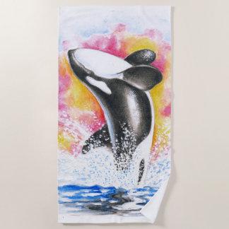 Durchbrechen des Schwertwal-bunten Aquarells Strandtuch