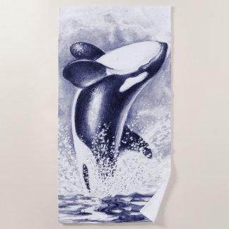Durchbrechen des Schwertwal-Wal-Blaus Strandtuch
