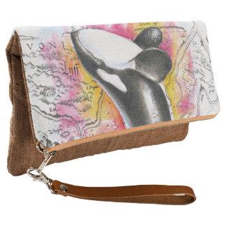 Durchbrechen Orca-Wal-des Vintagen Clutch
