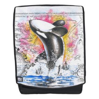 Durchbrechen Orca-Wal-des Vintagen Rucksack