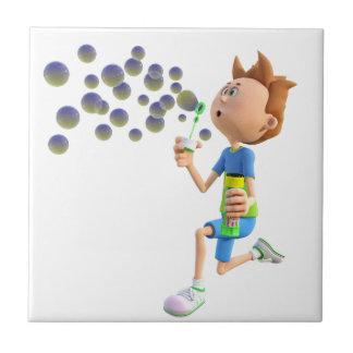 Durchbrennenblasen des Cartoonjungen Keramikfliese