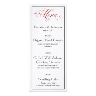 Durchdachte rote Hochzeits-Menü-Karte 10,2 X 23,5 Cm Einladungskarte