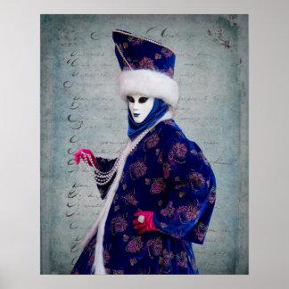 Durchdachtes Karnevals-Kostüm, Venedig Poster