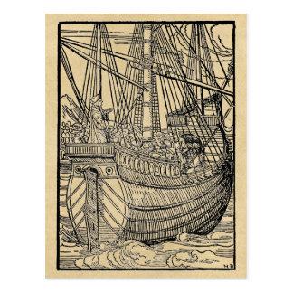 Durchgang auf einem Handels-Schiff Postkarte