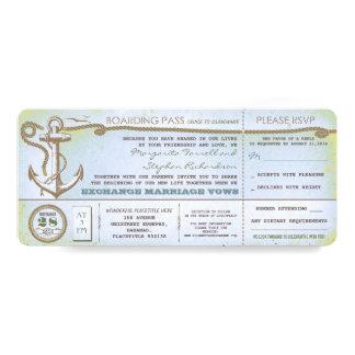 Durchlauf-Vintage Karten des Hochzeits-Boardings Individuelle Ankündigungskarte