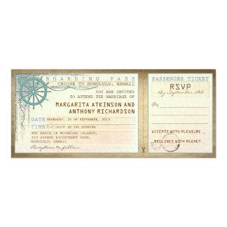Durchlauf-Vintage Karten des Hochzeits-Boardings 10,2 X 23,5 Cm Einladungskarte