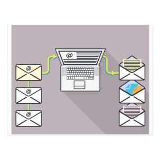Durchlaufen E-Mail auf Laptop Postkarte
