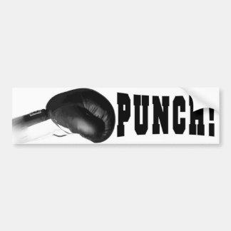Durchschlag! Schwarzes Boxhandschuh-Lochen Autoaufkleber