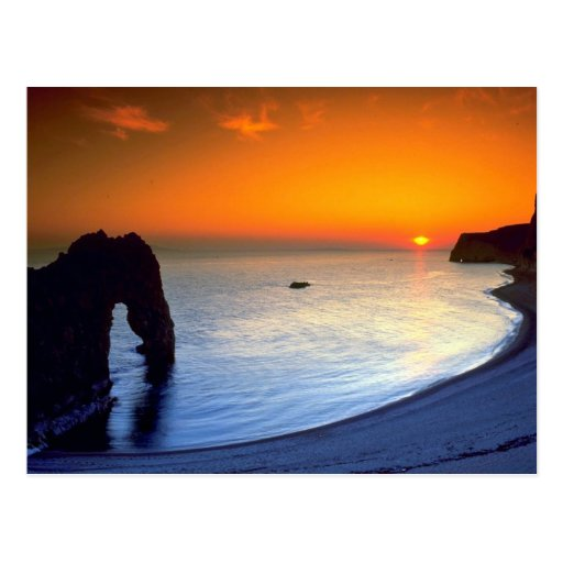 Durdle Tür, Sonnenuntergang, Dorset, England Postkarte