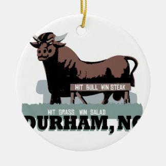 Durham NC Stier Keramik Ornament