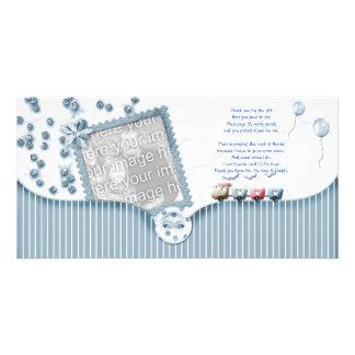 Dusche des blauen Babys danken Ihnen Foto-Karte vo Bilderkarten