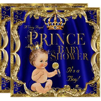 Dusche königliches Blau-Goldkronprinz-Baby brünett Karte