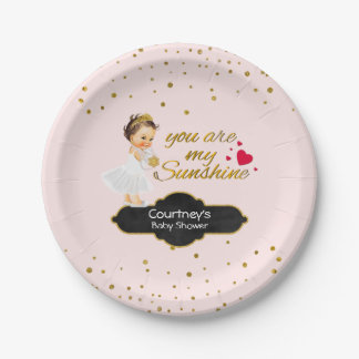 Dusche | Prinzessin-Baby erröten rosa Goldpunkte Pappteller