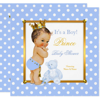 Duschen-Jungen-blauer Polka-Punkt Prinz-Baby Karte