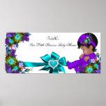 Duschen-Mädchen-aquamarines blaues Lila Poster