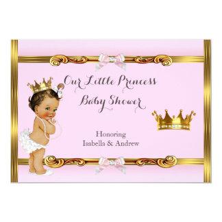 Duschen-Rosa-Goldmädchen Prinzessin-Baby brünett Karte