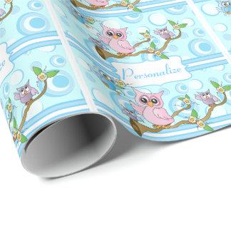 Duschen-Thema der blaues Baby-Eulen-| Geschenkpapier