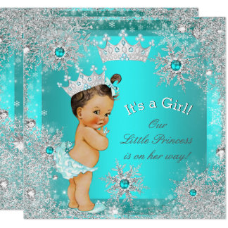 Duschen-Winter-Märchenland Prinzessin-Baby brünett Karte