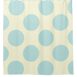 Duschvorhang-große Kreis-Punkt-Blau-Creme Duschvorhang