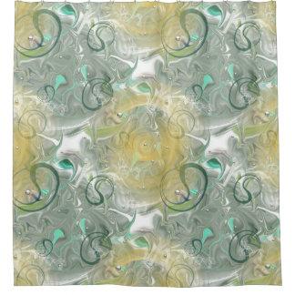 duschvorhang mit ornamenten in grün-blau