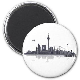 Düsseldorf City Skyline Runder Magnet 5,1 Cm